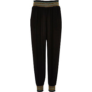 Girls black shirred joggers