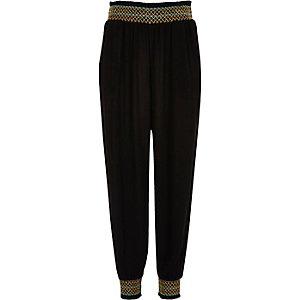 Pantalon de jogging noir froncé pour filles