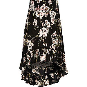 Girls black floral high-low hem maxi skirt
