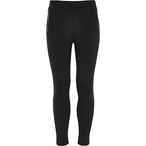 Girls black side zip ponte leggings