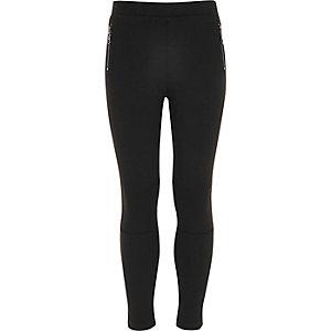 Zwarte legging van ponte-stof met rits opzij voor meisjes