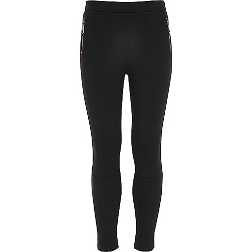 Girls black side zip ponte leggings