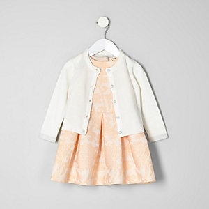 Mini girls pink prom dress cardigan outfit