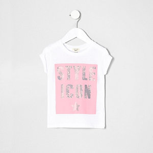 Mini girls white style icon T-shirt
