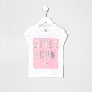T-shirt blanc imprimé Style Icon mini fille