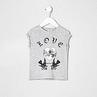 T-shirt gris chiné imprimé Love motif oiseaux mini fille