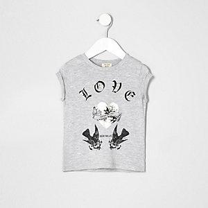 "Grau meliertes T-Shirt ""Lovebird"""