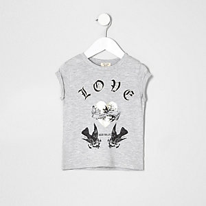 Mini girls grey marl love bird print T-shirt