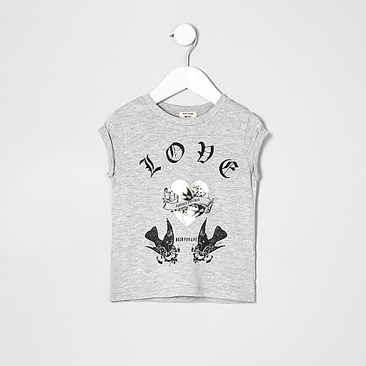 Mini girls grey marl love bird T-shirt