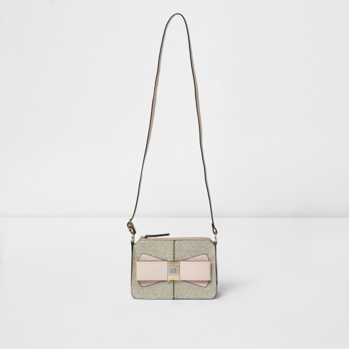 Girls gold glitter bow crossbody bag