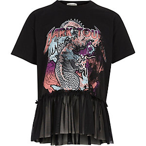 Girls rock band print mesh peplum hem T-shirt