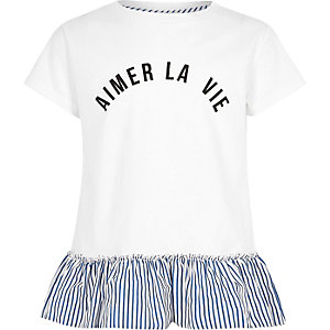Girls white stripe la vie peplum T-shirt