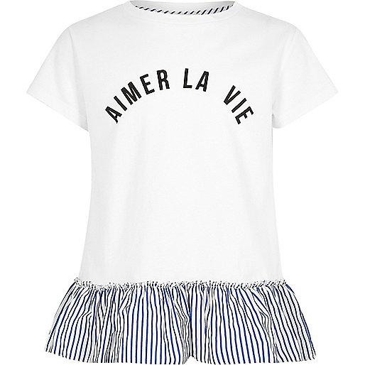 Girls white stripe la vie peplum T-shirt