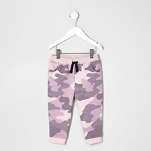 Mini girls pink camo print joggers