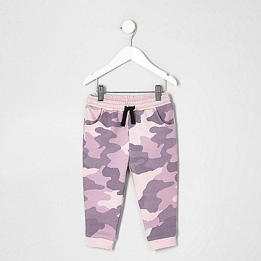 Mini girls pink camo print joggers