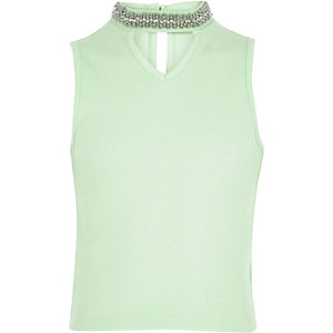 Girls light green embellished choker tank top