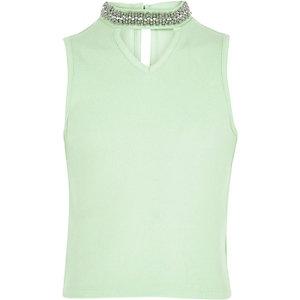 Girls light green embellished choker tank top