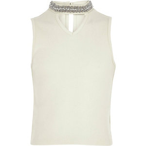 Girls cream embellished choker tank top