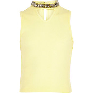 Girls yellow embellished choker tank top