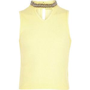 Girls yellow embellished choker tank top