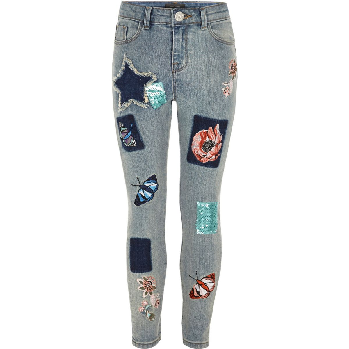 Girls blue embroidered Amelie skinny jeans