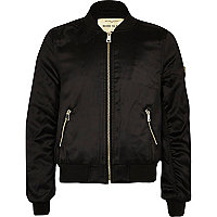 Girls black badge appliqué bomber jacket