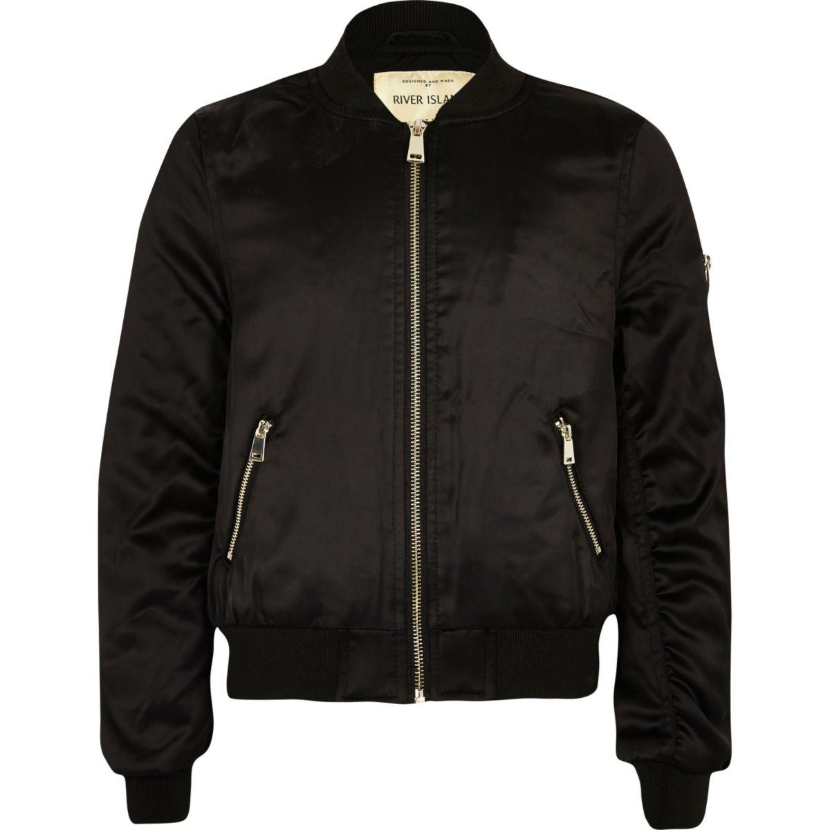Girls black badge appliqué bomber jacket