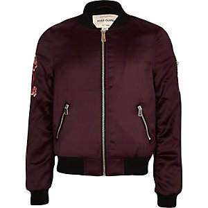 Girls dark red floral appliqué bomber jacket