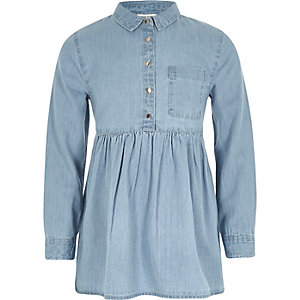 Girls blue denim peplum hem shirt