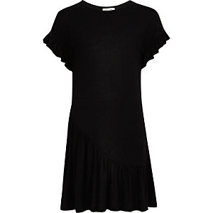 Girls black asymmetric frill smock dress