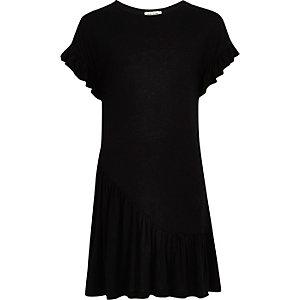 Robe noire smockée à volants asymétrique pour fille