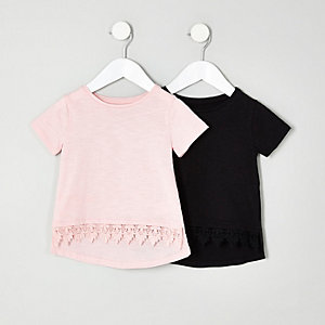 Mini girls black and pink crochet T-shirt set