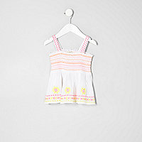 Mini girls white floral embroidered cami top