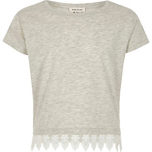 Girls grey marl crochet hem T-shirt