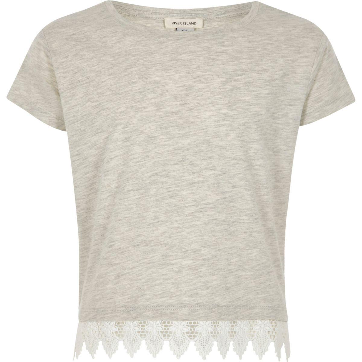 Girls grey marl crochet hem T-shirt