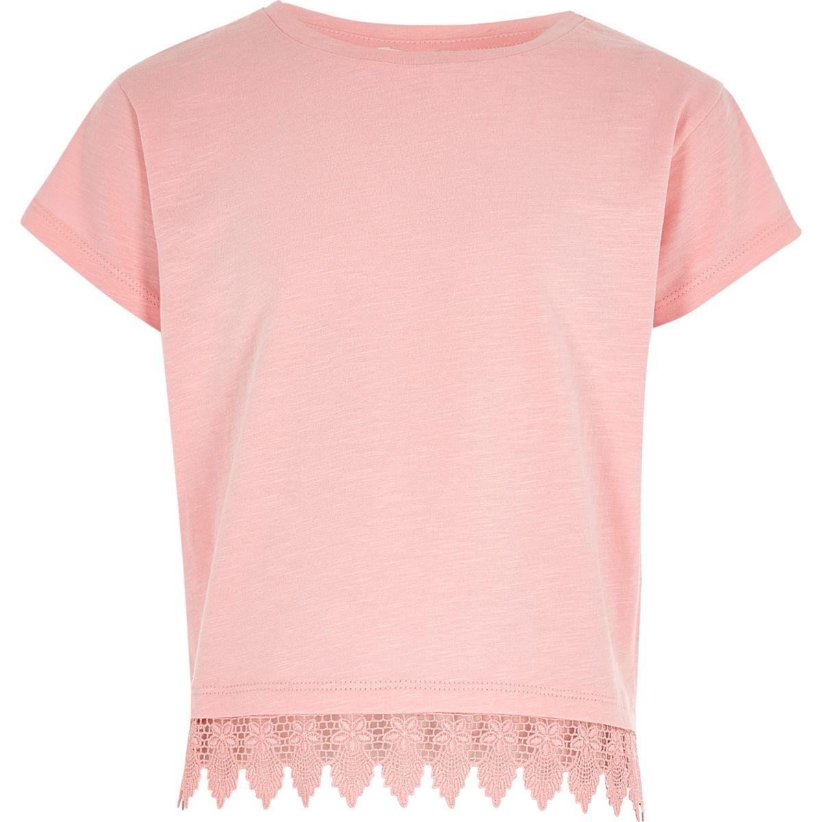 Girls pink crochet hem T-shirt