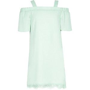 Girls light green cold shoulder lace dress