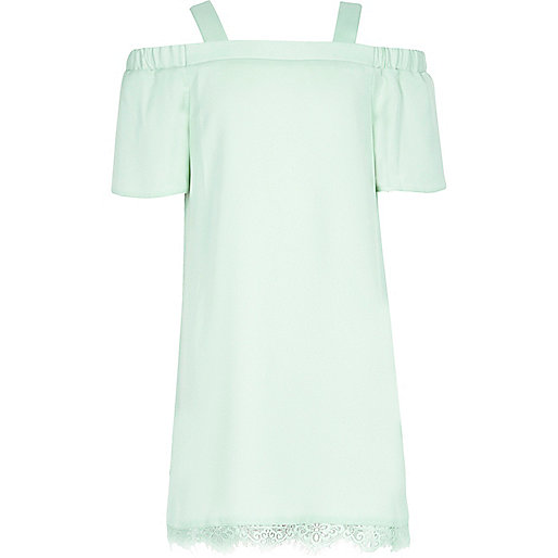Girls light green cold shoulder lace dress