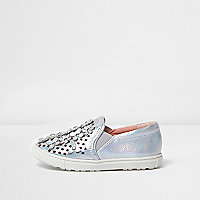 Mini girls silver floral applique plimsolls