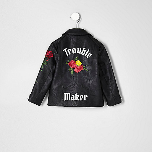 Mini girls black embroidered biker jacket