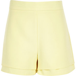Girls light yellow high waisted shorts