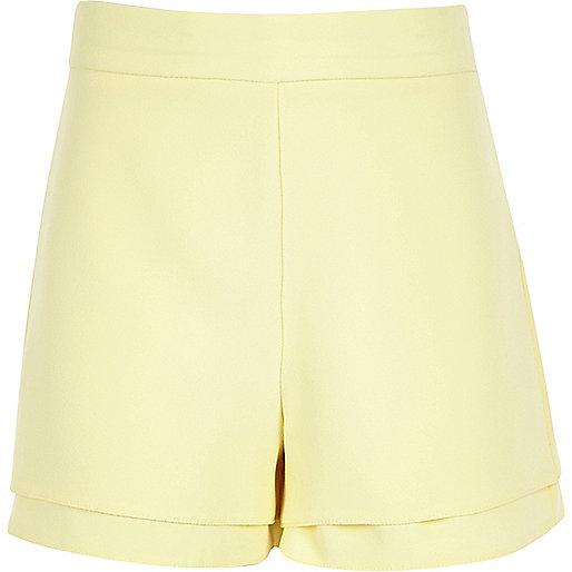 Girls light yellow high waisted shorts