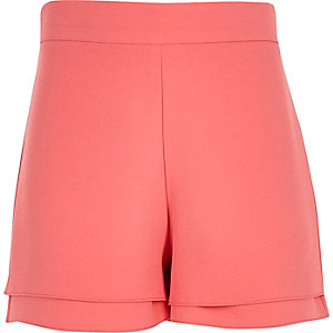 Girls coral pink high waisted shorts