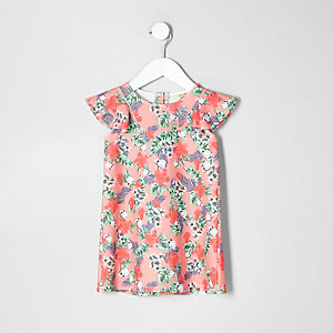 Mini girls pink tropical print frill dress