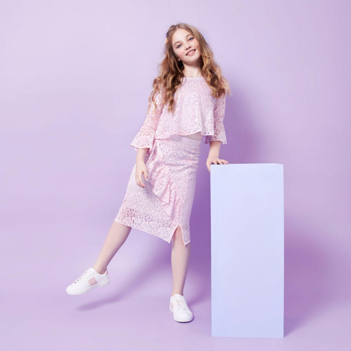 RI Studio– Jupe crayon rose à volant en dentelle pour fille