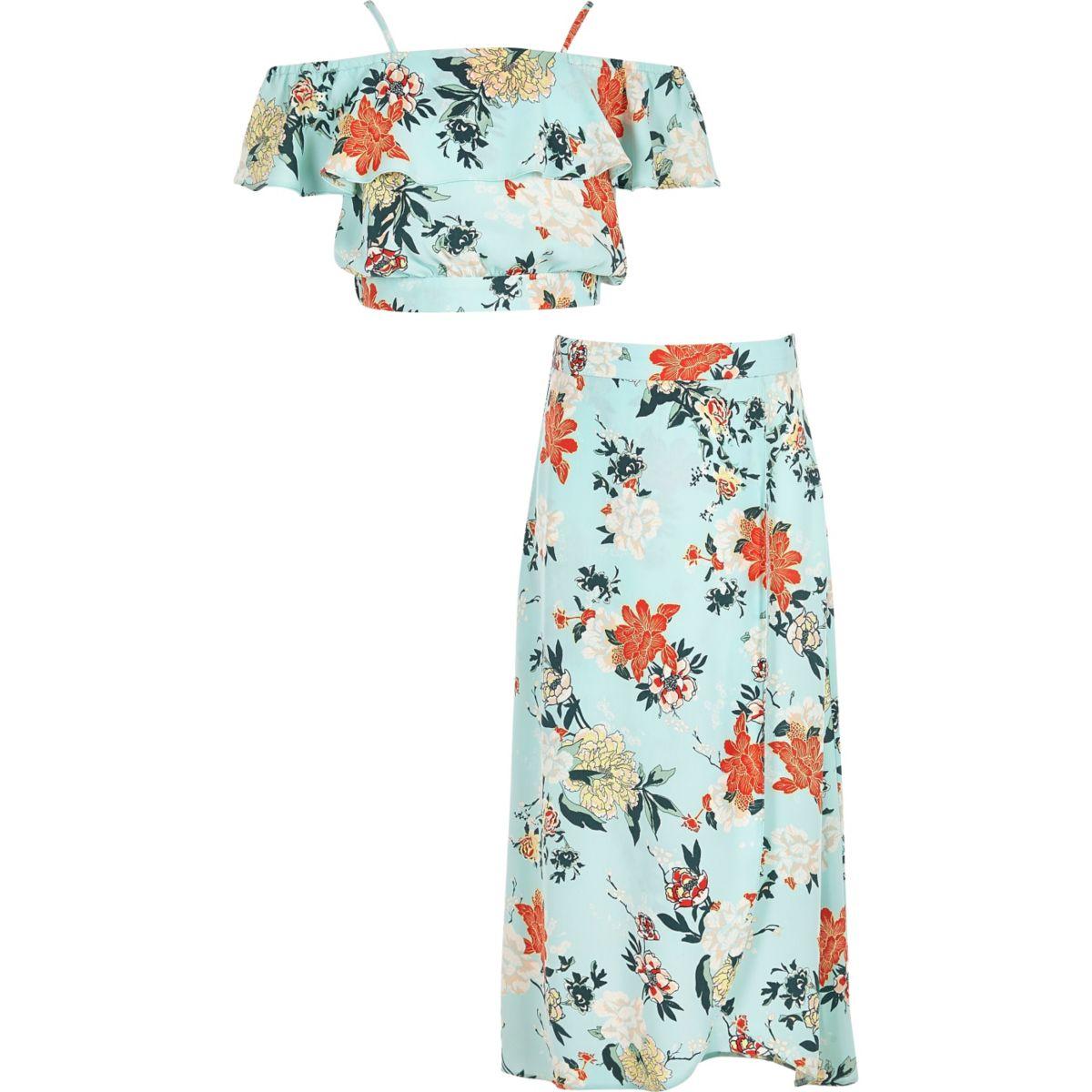 Girls green floral crop top and skirt set