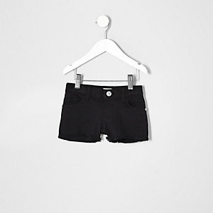 Mini girls black denim shorts