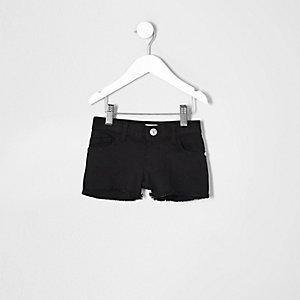 Short en jean noir pour mini fille