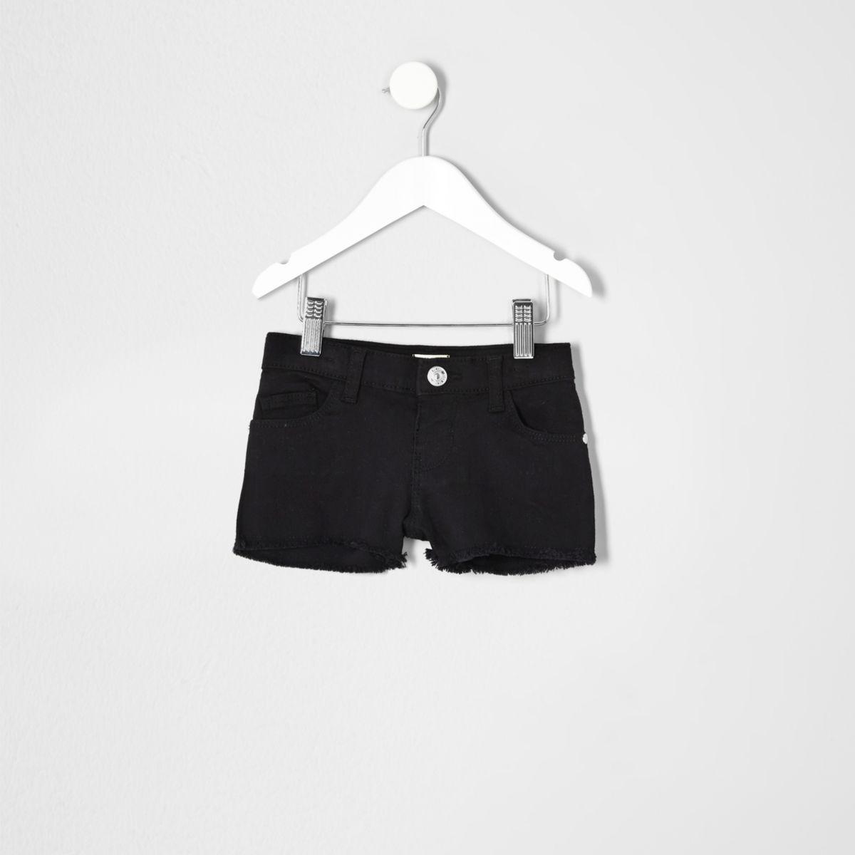 Mini girls black denim shorts