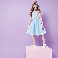 Girls RI Studio blue sequin trim prom skirt